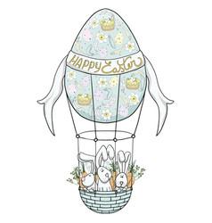 rabbits on hot air balloon vector image