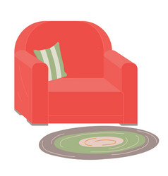 Red upholstered armchair with striped pillow rug vector