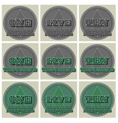 Round green and gray stickers with guilloche grid vector