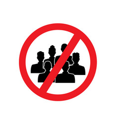 round red sign prohibition gather in a crowd vector image