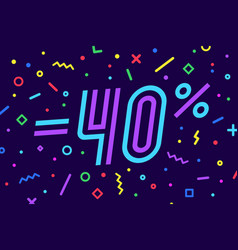 sale -40 percent banner for discount sale vector image