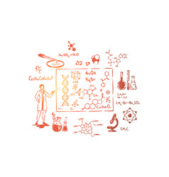 scientist with pointer scientific research vector image