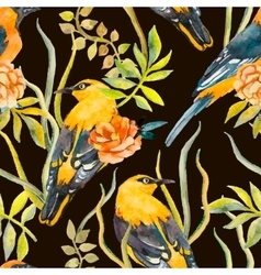 seamless pattern birds and plants vector image