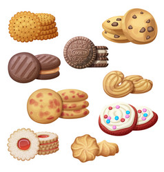 set 9 delicious cookies cartoon vector image