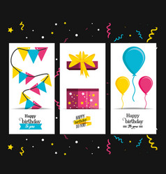 set birthday gift with garlands and balloons air vector image