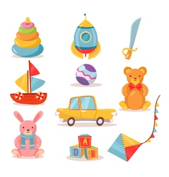 Set of Toys for Kids in Retro style vector