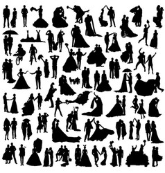Set wedding silhouettes vector