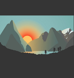 silhouettes men in mountains sunset over vector image