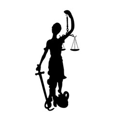 statue justice symbol silhouette isolated vector image