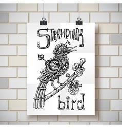 Steampunk bird vector
