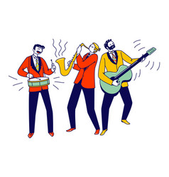 Street musicians characters or jazz band perform vector