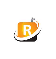 Technology motion synergy letter r vector