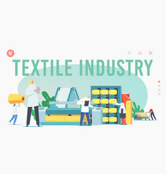 Textile industry landing page template characters vector