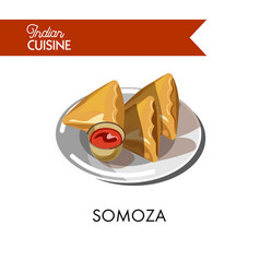 traditional indian somoza with sauce on shiny vector image