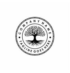 Tree life stamp seal emblem oak banyan vector