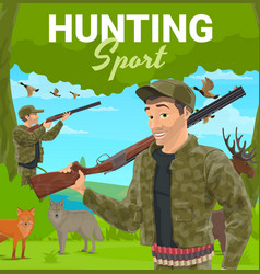 Trophy hunting sport hunter with rifle vector