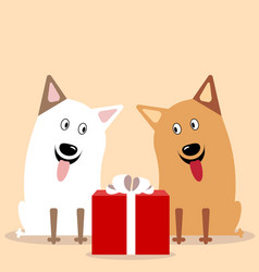 two cute dogs flat vector image