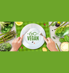 vegan realistic ad poster vector image