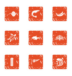 Wander icons set grunge style vector