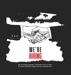 We are hiring poster design with shaking hands vector