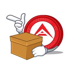 With box ark coin character cartoon vector