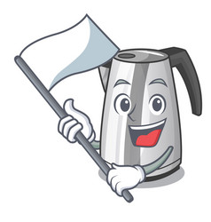With flag mascot cartoon household kitchen vector