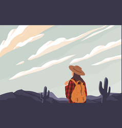 woman with backpack looking into distance vector image
