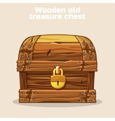 Wooden old antique treasure chest vector