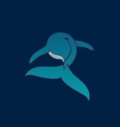 BLUE WHALE away logo sign emblem on dark blue vector image vector image