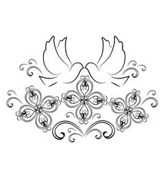 doves with flourishes 2 vector image vector image