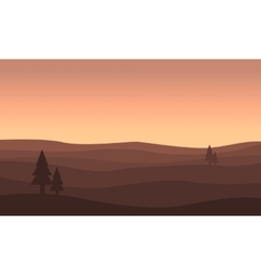 Landscape of hill silhouettes vector image