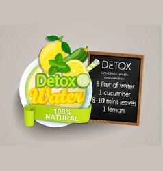 recipe detox cocktail-cucumberlemonwatermint vector image vector image
