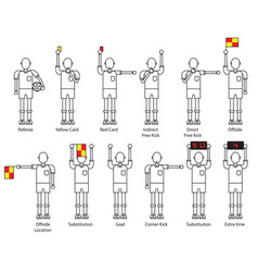 referee football signals icon set vector image