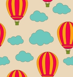 Retro Seamless Travel Pattern of Air Balloons and vector image vector image