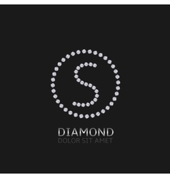 S letter with diamonds vector image