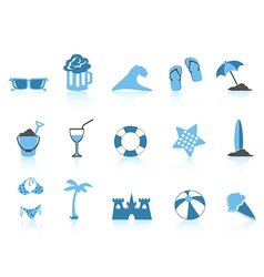 simple beach icon blue series vector image vector image