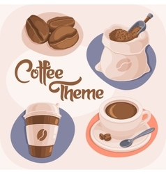 Coffee theme icons set vector