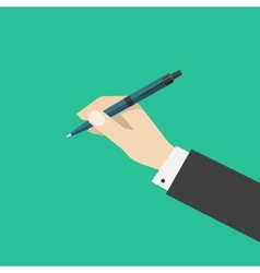 Hand holding pen isolated on green color vector image vector image