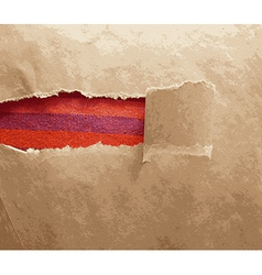 Paper frame texture with torn area vector image
