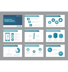 Set of blue template for multipurpose presentation vector image vector image