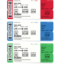 Airline boarding pass tickets set with shadow vector