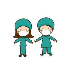 colorful caricature couple doctor costume vector image