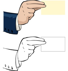 hand with a business card vector image vector image