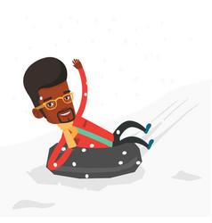 Man sledding on snow rubber tube in mountains vector
