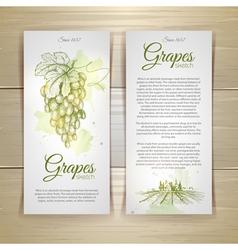 Set of wine labels Grapes sketch vector image
