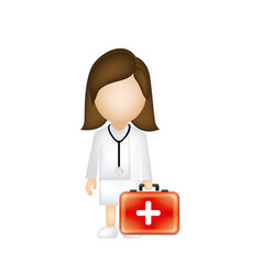 woman doctor with suitcase icon vector image