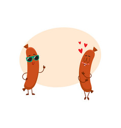 couple of sausage characters in sunglasses thumb vector image vector image