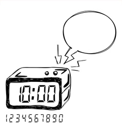 Digital Clock Bubble Speech vector image