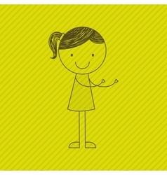 girl drawn design vector image