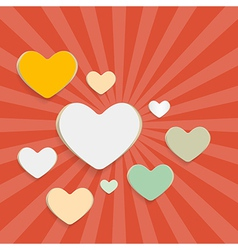 Paper Hearts on Red Retro Background vector image vector image